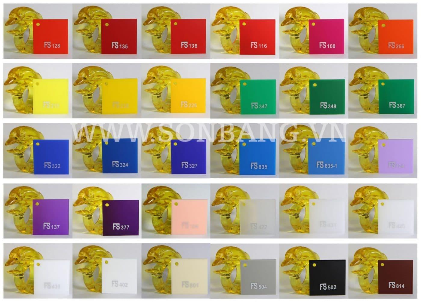 bảng mã màu tấm nhựa mica đài loan